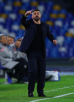 29th February 2020; Stadio San Paolo, Naples, Campania, Italy; Serie A Football, Napoli versus Torino; Gennaro Gattuso coach of Napoli sends in instructions to his team