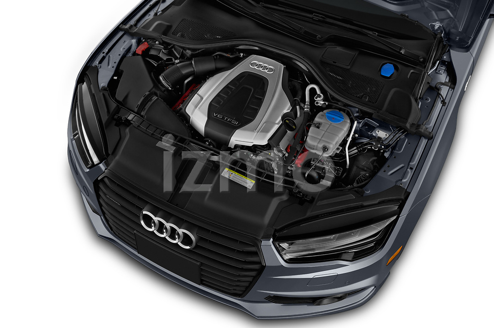 Car stock 2018 Audi A7 Premium Plus 5 Door Hatchback engine high angle detail view