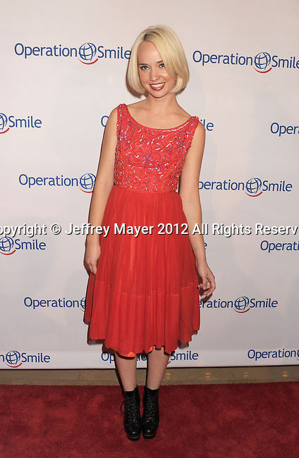 BEVERLY HILLS, CA - SEPTEMBER 28: Caitlin Moe attends Operation Smile's 30th Anniversary Smile Gala - Arrivals at The Beverly Hilton Hotel on September 28, 2012 in Beverly Hills, California.