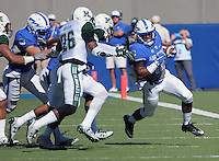 October 22, 2016 - Colorado Springs, Colorado, U.S. -   Air Force wide receiver, Tyler Williams #12, breaks free along the sidelines during the NCAA Football game between the University of Hawaii Rainbow Warriors and the Air Force Academy Falcons, Falcon Stadium, U.S. Air Force Academy, Colorado Springs, Colorado.  Hawaii defeats Air Force in double overtime 43-27.
