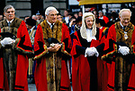 Sir Alexander Graham ( second left ) Lord Mayor of London and City of London businessmen dignitaries. Mansion House.   1990 1990s UK