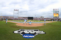 North Carolina warms up at TD Ameritrade Park prior to their game with Vanderbilt. Vanderbilt's 5-1 win eliminated North Carolina from the College World Series in Omaha, Neb. (Photo by Michelle Bishop)..