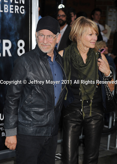 "WESTWOOD, CA - JUNE 08: Steven Spielberg and Kate Capshaw attend the ""Super 8"" Los Angeles Premiere at Regency Village Theatre on June 8, 2011 in Westwood, California."