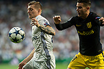 Toni Kroos of Real Madrid competes for the ball with Lucas Hernandez of Atletico de Madrid  during the match of Champions League between Real Madrid and Atletico de Madrid at Santiago Bernabeu Stadium  in Madrid, Spain. May 02, 2017. (ALTERPHOTOS/Rodrigo Jimenez)