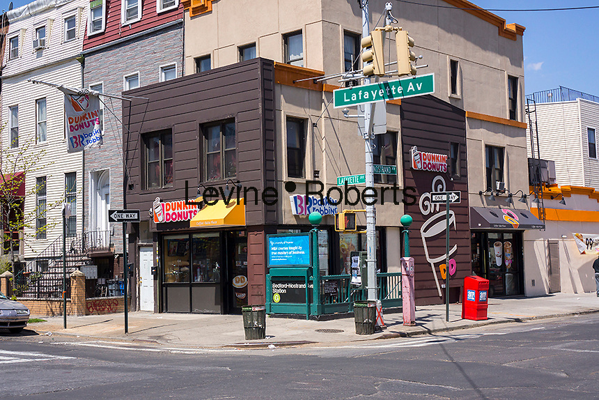 Dunkin Donuts and Baskin Robbins franchise in the Bedford-Stuyvesant neighborhood of Brooklyn in New York on Friday, April 26, 2013. (© Richard B. Levine)