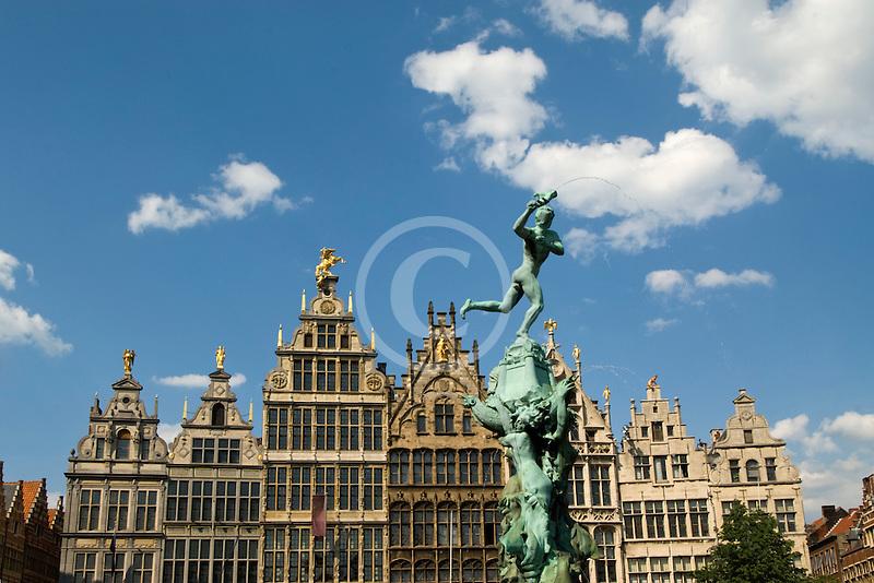 Belgium, Antwerp, Grote Markt, Guild houses and Brabo Statue