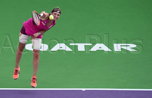 24.02.2016. Doha, Qatar.  Timea Bacsinszky of Switzerland competes during the singles third round match against Carla Suarez Navarro of Spain at the WTA Tennis Damen Qatar Open 2016 in Doha, Qatar, Feb. 24, 2016. Carla Suarez Navarro won 2-0.