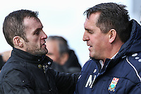 Nathan Jones (Manager) of Luton Town (left) and Martin Allen (Manager) of Barnet (right) ahead of the Sky Bet League 2 match between Barnet and Luton Town at The Hive, London, England on 28 March 2016. Photo by David Horn.