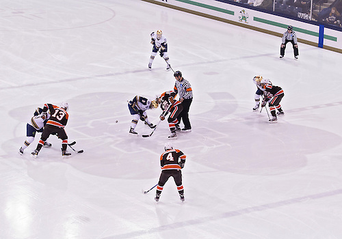 March 16, 2013:  A general view of the opening face-off during NCAA Hockey game action between the Notre Dame Fighting Irish and the Bowling Green Falcons at Compton Family Ice Arena in South Bend, Indiana.  Notre Dame defeated Bowling Green 4-3.