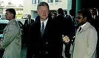 Ann Arbor, Michigan, USA, October 19, 1992<br /> Presidential candidate Governor William Clinton  walking out of the Hotel in Ann Arbor, Michigan before going to the debate at the University of Michigan. Credit: Mark Reinstein/MediaPunch