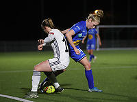 17.01.2020 OUD-HEVERLEE: OHL's Lotte Michiels (15) (left) and Gent's Elena Dhont (4) battle for the ball p<br /> during Belgian's Women's Super League match between Oud-Heverlee Leuven vs KAA Gent Ladies on Friday 17th January 2020, Stadion Oud-Heverlee, Oud-Heverlee, BELGIUM. PHOTO: SEVIL OKTEM SPORTPIX.BE
