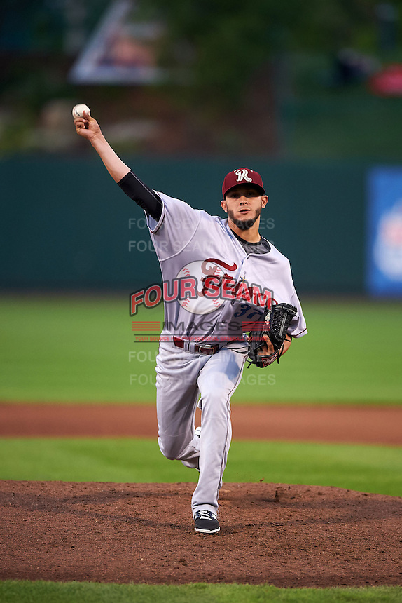 Frisco RoughRiders pitcher Jesus Pirela (37) delivers a pitch during a game against the Springfield Cardinals  on June 4, 2015 at Hammons Field in Springfield, Missouri.  Frisco defeated Springfield 8-7.  (Mike Janes/Four Seam Images)