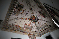Carcere di Paliano, dove sono reclusi i collaboratori di giustizia.Sala del Capitano con gli affreschi della battaglia di Lepanto..Captain's room with the frescoes of the battle of Lepanto.