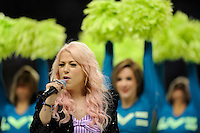 Amelia Lily from the X Factor entertains fans before the Aviva Premiership match between Harlequins and Saracens at Twickenham on Tuesday 27 December 2011 (Photo by Rob Munro)