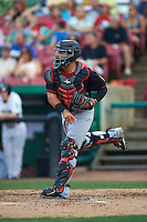 Great Lakes Loons catcher Julian Leon (43) during a game against the Kane County Cougars on August 13, 2015 at Fifth Third Bank Ballpark in Geneva, Illinois.  Great Lakes defeated Kane County 7-3.  (Mike Janes/Four Seam Images)