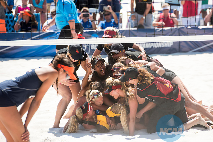 GULF SHORES, AL - MAY 07: The University of Southern California team celebrates their team victory over Pepperdine University during the Division I Women's Beach Volleyball Championship held at Gulf Place on May 7, 2017 in Gulf Shores, Alabama. The University of Southern California defeated Pepperdine 3-2 to claim the national championship. (Photo by Stephen Nowland/NCAA Photos via Getty Images)