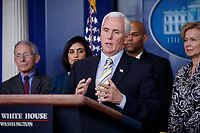 US Vice President Mike Pence, with members of the coronavirus taskforce, responds to a question from the news media during a press conference in the press briefing room at the White House in Washington, DC, USA, 14 March 2020. To date there are 2175 confirmed cases of COVID-19 coronavirus in the US with 50 deaths.<br /> Credit: Shawn Thew / Pool via CNP/AdMedia