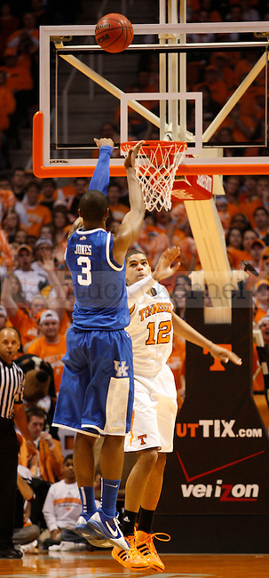Terrence Jones, guarded by Tobias Harris, takes a shot in the 1st half of UK's 64-58 win over Tennessee, at Thompson-Boling Arena, on Sunday, March 6, 2011. Photo by Latara Appleby | Staff