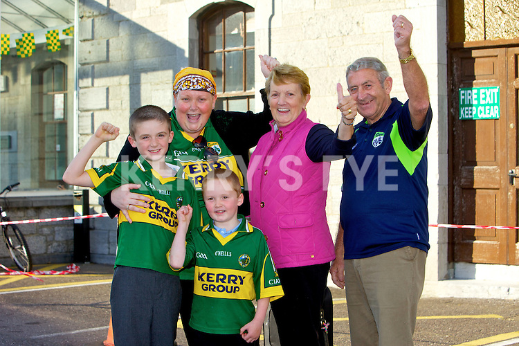 The Home Coming - Waiting at Tralee Railway Station for the arrival of the Senior and minor Kerry Teams on Monday were Diarmuid Og O'Connor, Jack O'Connor, Ashling O'Connor, Mairead Harnett and Ed Harnett.  Listowel/Moyvane