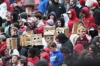 NWA Democrat-Gazette/J.T. WAMPLER Fans in the student section don bags during the final minutes of Arkansas' 28-21 loss to Mississippi State Saturday Nov. 18, 2017 at Donald W. Reynolds Razorback Stadium in Fayetteville. Arkansas is 4-7 for the season and 1-6 in SEC play.