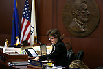 Nevada Senate Secretary Claire Clift works on the Senate floor at the Legislative Building in Carson City, Nev., on Monday, March 23, 2015. <br /> Photo by Cathleen Allison