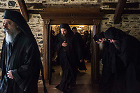 Mount Athos - The Holy Mountain.<br /> Monks leave the refectory of Pantokratoros. <br /> <br /> Photographer: Rick Findler