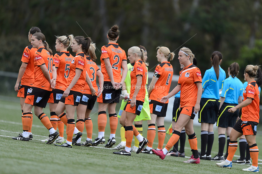 MELBOURNE - 27 October: Roar players line up before round two of the 2012/13 W-League between Melbourne Victory and Brisbane Roar at the Veneto Club, Bulleen. (Photo by Sydney Low/syd-low.com/#MVFC)