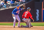 21 April 2013: New York Mets infielder Ruben Tejada gets Denard Span stealing in the 6th inning during game action against the Washington Nationals at Citi Field in Flushing, NY. The Mets shut out the visiting Nationals 2-0, taking the rubber match of their 3-game weekend series. Mandatory Credit: Ed Wolfstein Photo *** RAW (NEF) Image File Available ***