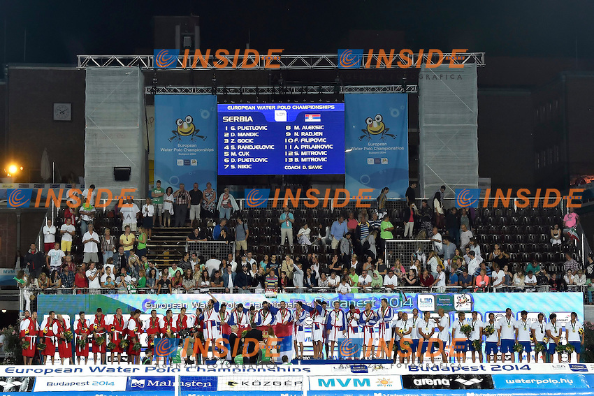 PODIUM 1 SERBIA 2 HUNGARY 3 ITALY <br /> LEN European Water Polo Championships 2014<br /> Alfred Hajos Swimming Complex<br /> Margitsziget - Margaret Island<br /> Day14 - July 27<br /> Photo A.Staccioli/Insidefoto/