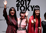September 9, 2017, Tokyo, Japan - (L-R) Arisa Urahama, Mademoiselle Yulia and Yuka Mannami pose for photo at the opening ceremony for the Vogue Fashion's Night Out 2017 in Tokyo on Saturday, September 9, 2017. Some 630 shops participated one-night fashion shopping event in Tokyo. (Photo by Yoshio Tsunoda/AFLO) LWX -ytd-