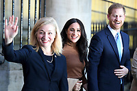 07/01/2020 - Prince Harry Duke of Sussex and Meghan Duchess of Sussex Markle with the deputy High Commissioner, Sarah Fountain Smith during a visit to Canada House, in London, in thanks for the warm Canadian hospitality and support they received during their recent stay in Canada. Photo Credit: ALPR/AdMedia