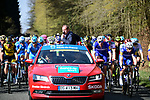 The neutral roll out in Compiegne the start of the 116th edition of Paris-Roubaix 2018. 8th April 2018.<br /> Picture: ASO/Pauline Ballet | Cyclefile<br /> <br /> <br /> All photos usage must carry mandatory copyright credit (&copy; Cyclefile | ASO/Pauline Ballet)