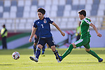 Shibasaki Gaku of Japan (L) in action against Babajanov Zafar of Turkmenistan during the AFC Asian Cup UAE 2019 Group F match between Japan (JPN) and Turkmenistan (TKM) at Al Nahyan Stadium on 09 January 2019 in Abu Dhabi, United Arab Emirates. Photo by Marcio Rodrigo Machado / Power Sport Images