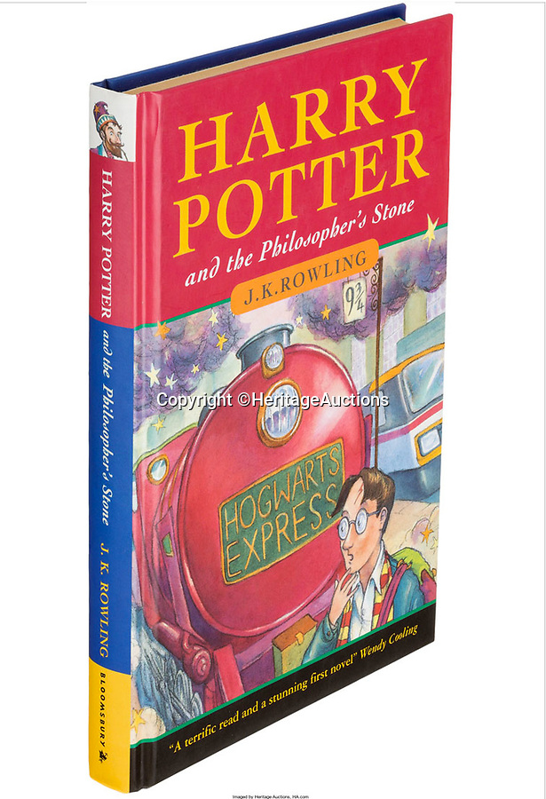 BNPS.co.uk (01202 558833)<br /> Pic: HeritageAuctions/BNPS<br /> <br /> A rare first edition copy of Harry Potter and the Philosopher's Stone has sold for a world record price of £59,000.<br /> <br /> It is the second time in two months the record has been smashed for an unsigned copy of JK Rowling's creation, which is 20 years old this year.<br /> <br /> The previous record was set at £38,000 by Bloomsbury Auctions back in July, but that record has now been dwarfed by Heritage Auction house in Dallas, USA.