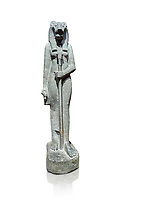 "Ancient Egyptian statue of goddess Sekhmet, grandodiorite, New Kingdom, 18th & 20thDynasty (1390-1150 BC), Thebes. Egyptian Museum, Turin. white background.<br /> <br /> Sekhmet, ""the Powerful One"" was a fearsome goddess symbolised by her lioness head. Daughter of the sun she personifies the disk of the world during the day. Sekhmet is the angry manifestation of Hathor inflicting the scourges of summer heat, famine and illness which is why the goddess needed to be exorcised every day. Drovetti Collection. C 255"