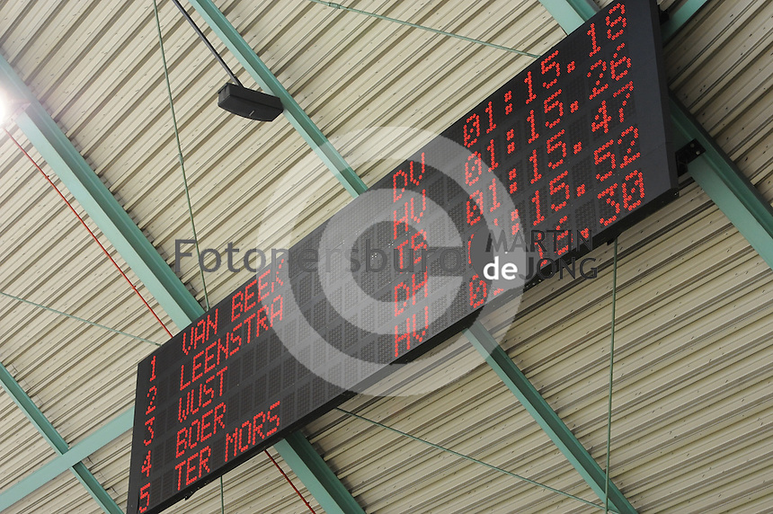 SCHAATSEN: HEERENVEEN: 26-12-2013, IJsstadion Thialf, KNSB Kwalificatie Toernooi (KKT), 1000m, uitslag, scorebord, ©foto Martin de Jong