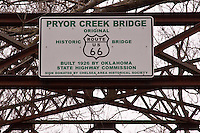 Historic old Route 66 Pryor Creek Bridge, built in 1926 is 120 feet long and 18 feet wide.