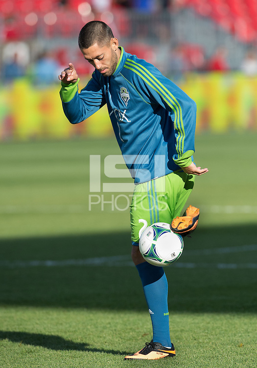 August 10, 2013: Seattle Sounders FC forward Clint Dempsey #2 during the warm up in an MLS regular season game between the Seattle Sounders and Toronto FC at BMO Field in Toronto, Ontario Canada.<br /> Seattle Sounders FC won 2-1.