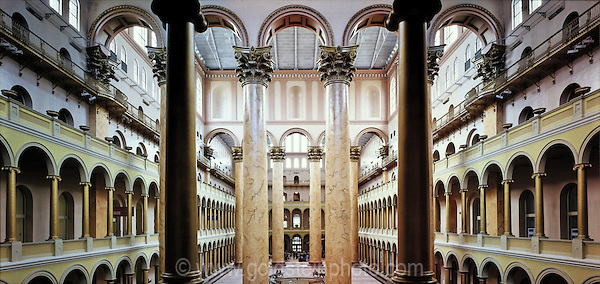 Great Hall at the National Building Museum in Washington DC. This was formerly called the Pension Building. The large Corinthian columns are painted to simulate stone.