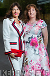 Bernadette O'Sullivan (Milltown) and Nuala Hinchy (Abbeydorney) at the Rose of Tralee fashion show at the dome on Sunday night.