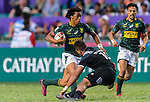Stedman Gans of South Africa (L) in action against Isaac Te Tamaki of New Zealand (C) during the HSBC Hong Kong Sevens 2018 Bronze Medal Final match between South Africa and New Zealand on 08 April 2018 in Hong Kong, Hong Kong. Photo by Marcio Rodrigo Machado / Power Sport Images