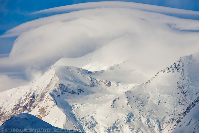Clouds over the summit of Mt Denali,  Denali National Park, Interior, Alaska.