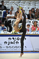 Viktoria Mazur of Ukraine performs with clubs at 2011 Holon Grand Prix at Holon, Israel on March 5, 2011.  (Photo by Tom Theobald)  .