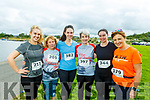 Mary Griffin (Knockmoyle), Carmel Foran (Monalee), Niamh O'Sullivan (Tralee), Noreen Quirke (Farmers Bridge), Helena O'Connor (Tralee) and Michelle O'Sullivan (Oakpark) at the Tralee Harriers Rose of Tralee 10k in the Tralee Wetlands on Sunday.