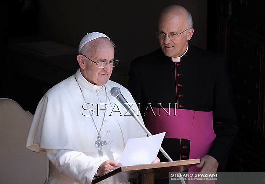 Monsignor Alfred Xuereb private secretary to Pope Francis  during his first Angelus prayer in front of his summer residence in Castel Gandolfo,  July 14, 2013