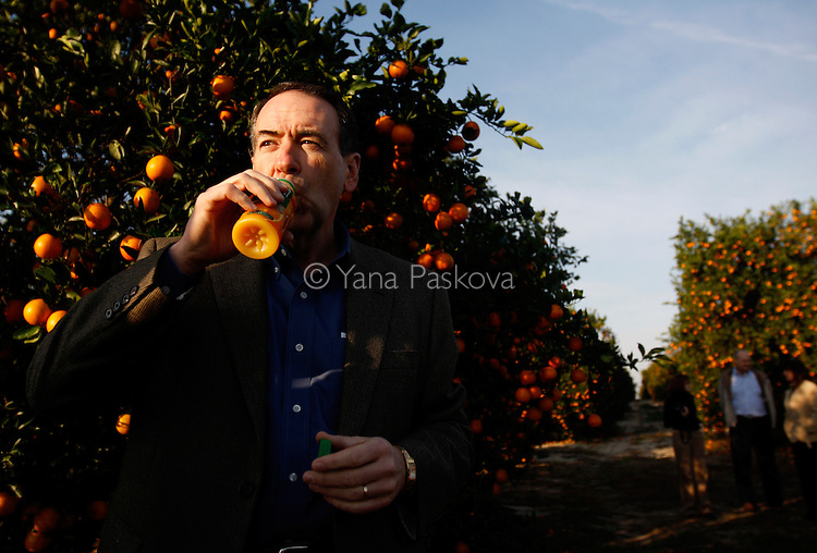U.S. Presidential hopeful Mike Huckabee (R-AR) tastes some orange juice as he tours the Story Family Orange Grove with growers from Florida Citrus Mutual in South Lake Wales, Florida, on Saturday, January 26, 2008. (Photo by: Yana Paskova for The New York Times)..Assignment ID: 30055282P..                                 ...........