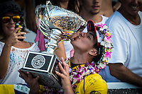 Pipeline, North Shore of Oahu, Hawaii Friday December 19 2014) Gabriel Medina (BRA) 2014 World Surfing Champion. - The final stop of the 2014  World Championship Tour, the Billabong Pipe Masters in Memory of Andy Irons, was  ccompleted today in NW double overhead surf. <br /> Gabriel Medina (BRA) became the first ever Brazilian World Champion after both rival contenders , Kelly Slater (USA) and Mick Fanning (AUS) were eliminated from the contest. Medina went onto finish 2nd overall behind Julian Wilson (AUS). <br /> In the overlapping heat format Wilson surf three consequent heats and still had enough entry to take out the 30 minute final.<br /> By winning the final Wilson also won the covered Vans Triple Crown of Surfing for best overall performance through the whole Triple Crown.<br /> <br /> The Billabong Pipe Masters in Memory of Andy Irons will determine this year&rsquo;s world surfing champion as well as those who qualify for the elite tour in 2015. As the third and final stop on the Vans Triple Crown of Surfing Series  the event will also determine the winner of the revered three-event leg.<br /> <br />  Photo: joliphotos.com