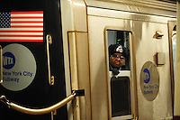 Nov. 12, 2010 - New York City, NY - A subway operator looks out the window of her train in New York City November 12, 2010. (Photo by Alan Greth)