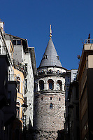 General view of the Galata Tower (Galata Kulesi), 507, by Bysantium Emperor Anasthasius under the name of Lighthouse Tower,  Istanbul, Turkey. In 1348 the Genoese rebuilt the tower with pile stone and named it Christea Turris (Tower of Christ).  The 66.90 metre tower was the city's tallest structure when it was built and still dominates the skyline at the highest point of the citywalls. The historical areas of the city were declared a UNESCO World Heritage Site in 1985. Picture by Manuel Cohen.