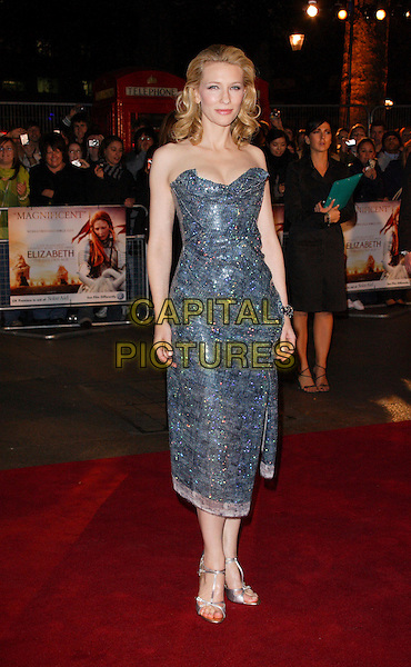 """CATE BLANCHETT.UK Premiere of """"Elizabeth - The Golden Age"""" at the Odeon Leicester Square, London, England..October 23rd 2007.full length strapless grey gray blue silver sequined sequins jewel encrusted shoes.CAP/ROS.©Steve Ross/Capital Pictures"""